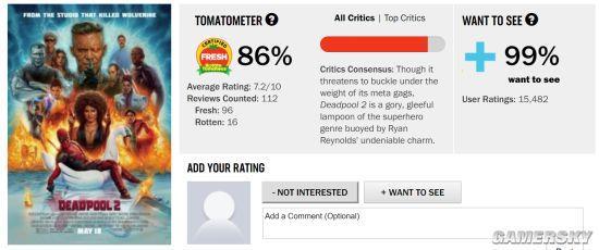 《死侍2》口碑超好:烂番茄7.2分比《复联3》好看