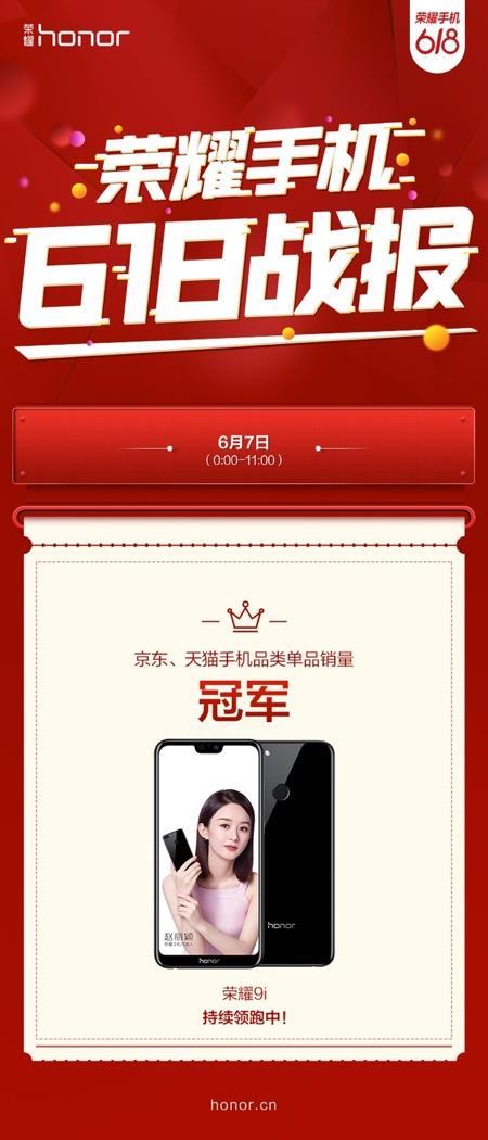 """荣耀9i首发销量领跑618双平台""""吓人技术""""明星产品全线搭载"""
