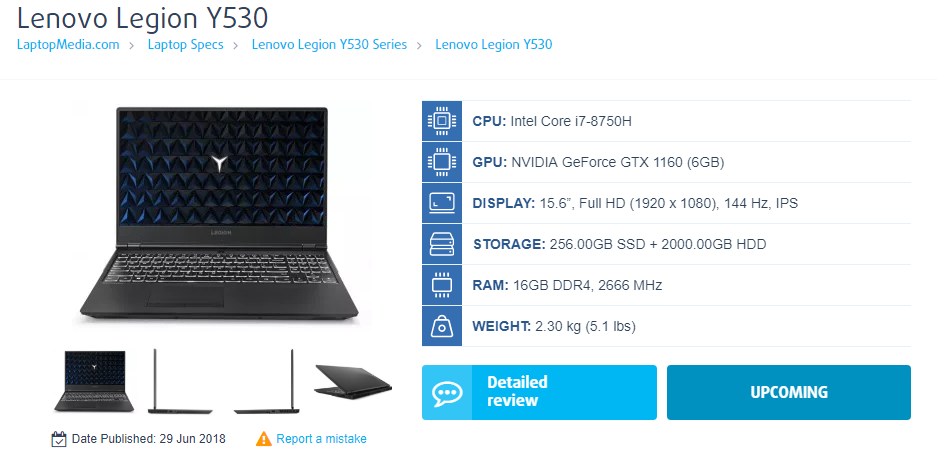 Lenovo Y530 game is expected to launch GTX 1160 graphics card
