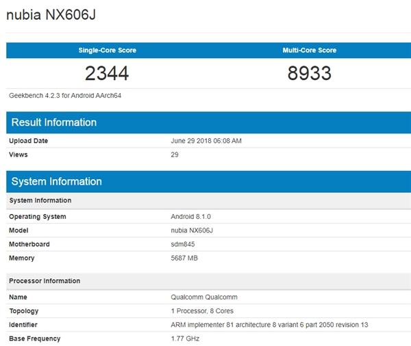 努比亚无边框新机现身GeekBench:搭载骁龙845
