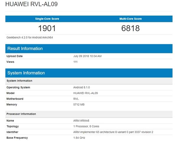 荣耀Note 10配置曝光:麒麟970+6GB内存