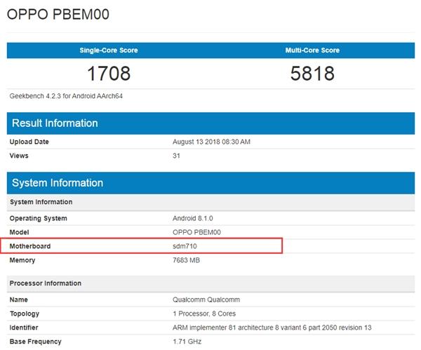 OPPO新机现身GeekBench:骁龙710+8G内存