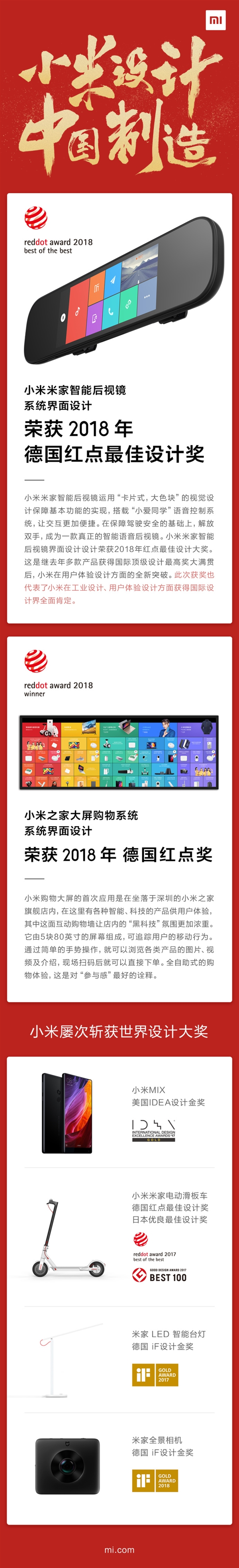 System interface like Xiaomi Mijia smart rearview mirror won the red dot best design award