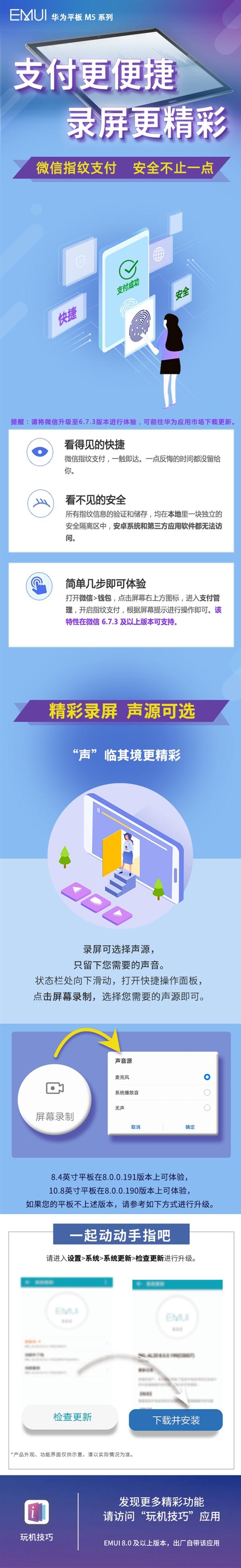 华为平板M5系列升级推送:新增微信指纹支付/录屏声源可选