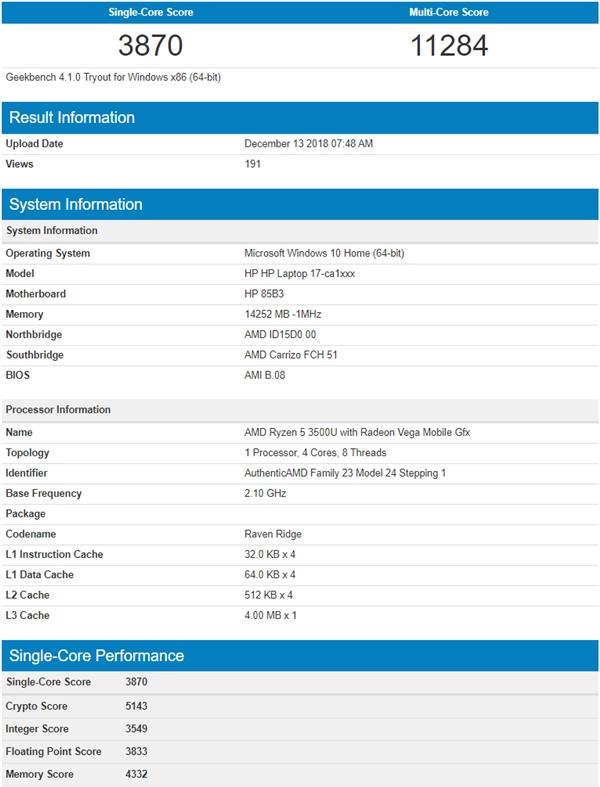 AMD锐龙3000U系列APU五款齐曝光:基本断定12nm