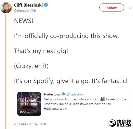 Cliff.B轉戰百老匯