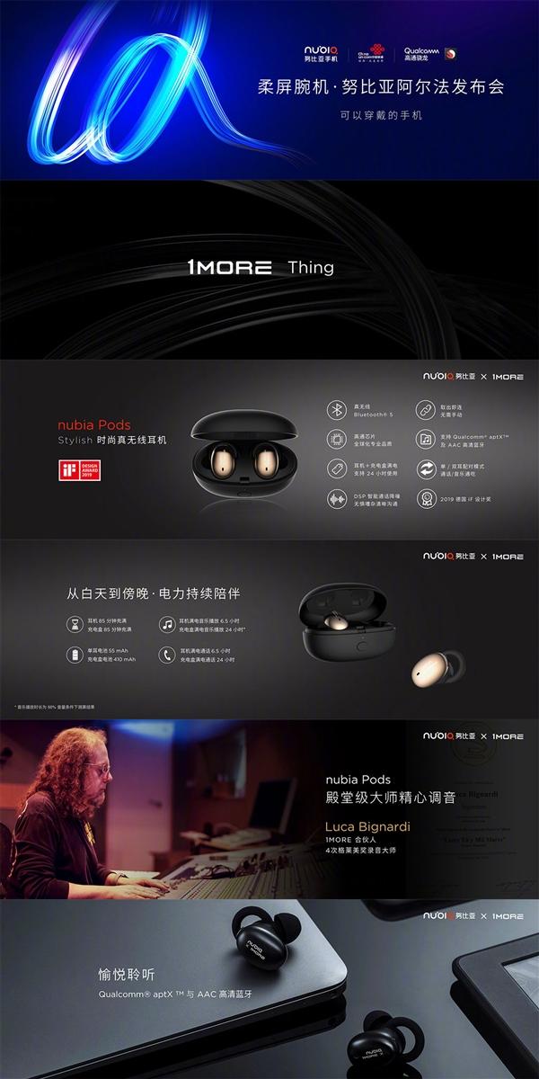 努比亚真无线耳机nubia Pods发布 售价799元
