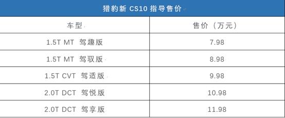37項升級配置!獵豹新款CS10你會打幾分?