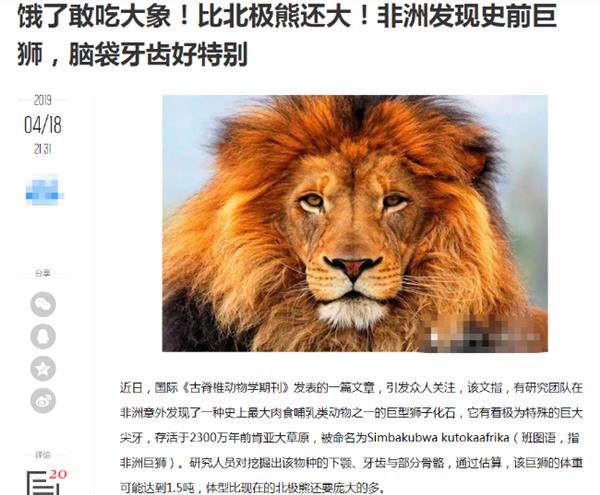 非洲肯尼亞發現1.5噸巨型獅子?不好意思 這真的是個烏龍
