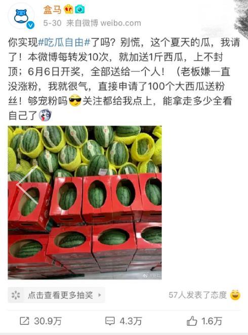 郑州大弟子中奖获3.09万斤西瓜:网友被盒马圈粉了