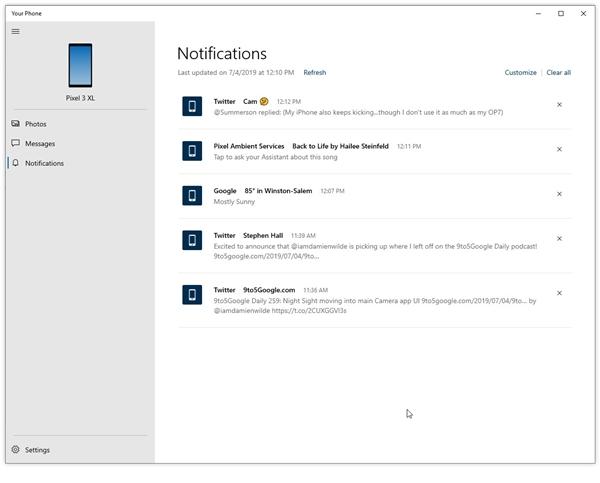 新版Your Phone可将Android手机上的通知推送至Windows 10设备上