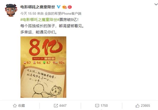 《哪吒之魔童降世》票房破8亿:豆瓣评分8.7超《大圣》