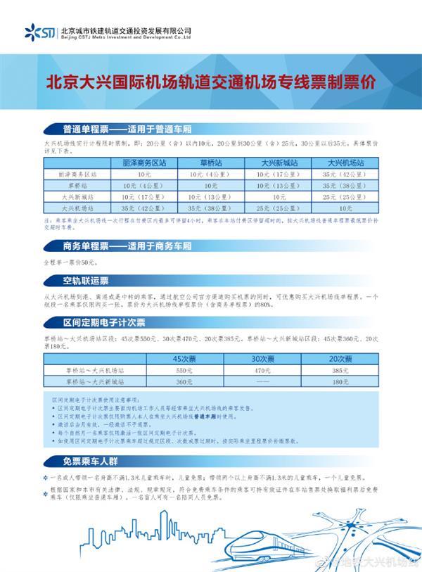 北京大兴机场专线票价公布:最低10元、最贵50元