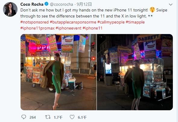 国际超模晒iPhone 11 Pro Max黑夜样张:对比iPhone X挺进惊人