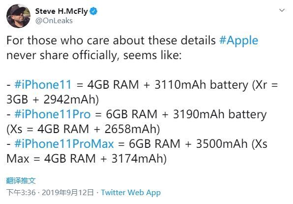 iPhone 11系列手机内存不是6GB 4GB最终确认了