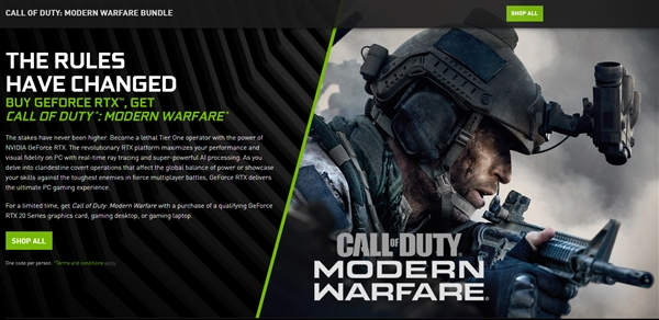 NVIDIA上线RTX显卡新同捆游戏:《使命召唤15:现代战争》