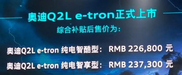 """22.68万起!奥迪家族""""最小""""纯电选手正式上市:NEDC续航265km"""