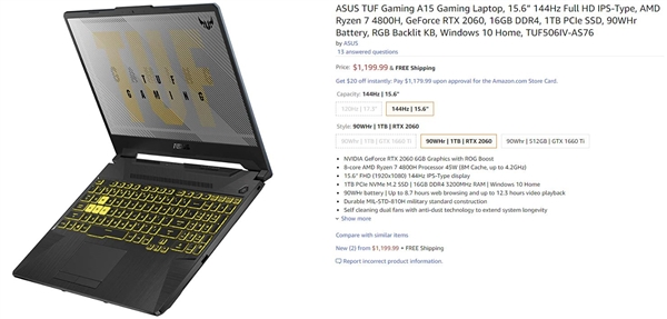 华硕TUF Gaming A15起价999美元