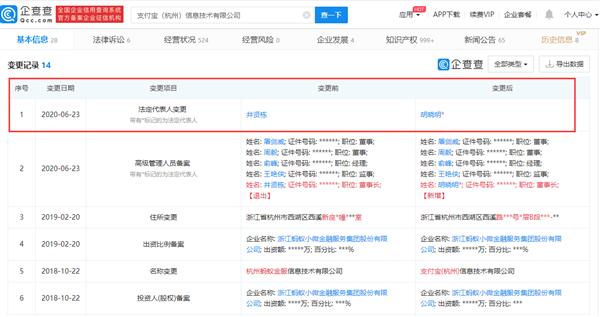 """支付宝""""年迈""""变更:井贤栋卸任法人、董事长"""