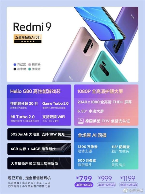 Redmi 9预售强劲 卢伟冰:没想到5G时代这么众人关心4G手机