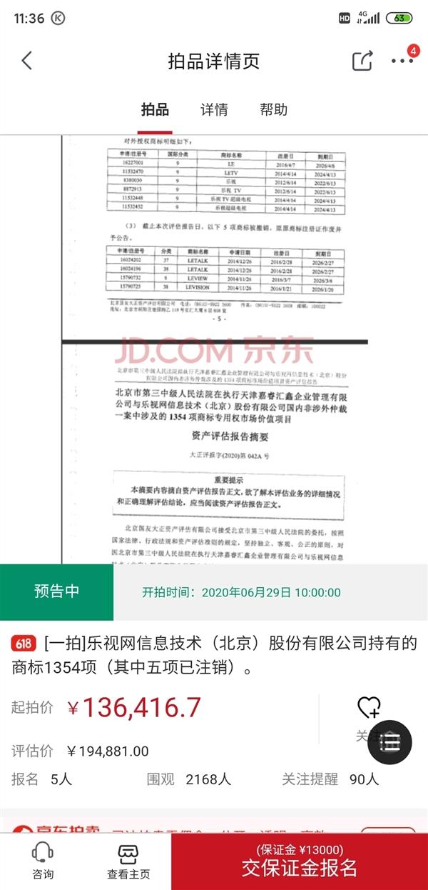 笑视网千余个商标被打包拍卖:估值不到20万 成交价竟达1.31亿元