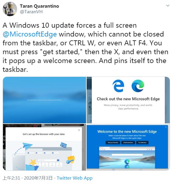 微软激怒不少用户:因Windows更新强推Edge浏览器
