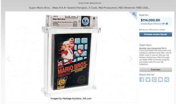 1985年版《超级马里奥》成现在最贵游玩:拍卖价近80万元