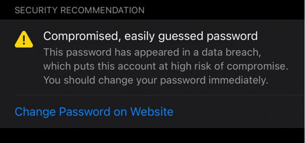 iOS 14中苹果强化坦然管理:对能够会遭泄的弱暗号发出警告