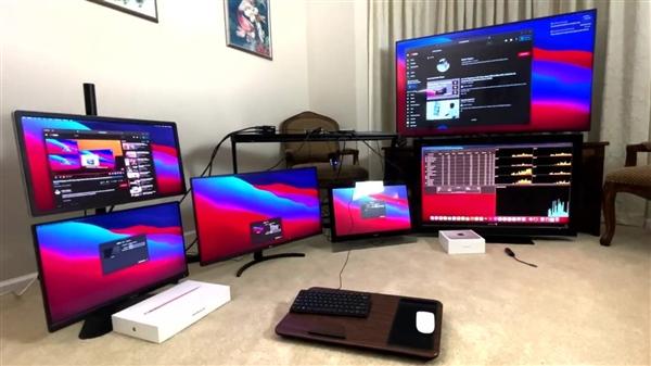 苹果隐藏了M1 Mac的实力:测试外接六块显示屏可行