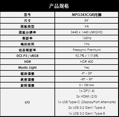 微星推出1000R曲面2K带鱼屏显示器MPG343CQR月神:165Hz高刷