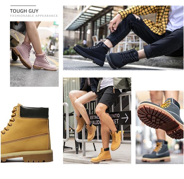 耐磨护脚!骆驼男女高帮牛皮工装鞋马丁靴直降1000元:189元包邮
