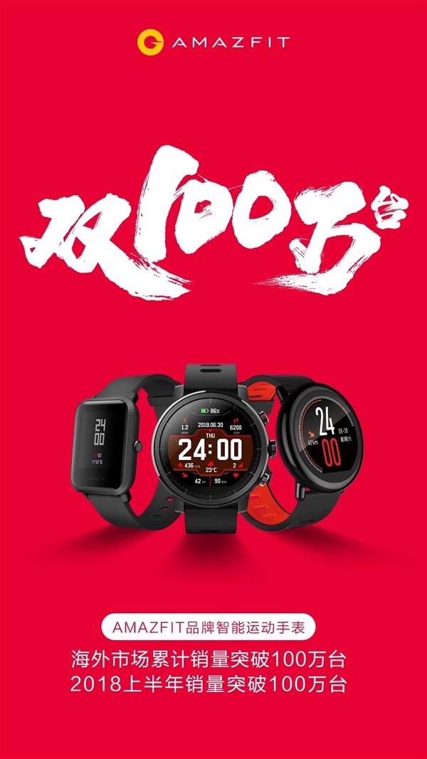 华米AMAZFIT品牌智能手表上半年销量突破百万支