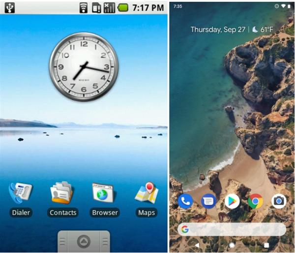 十年巨变 Android 1.0对比Android 9