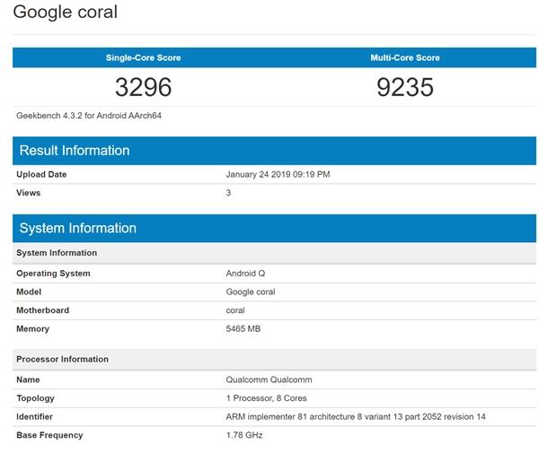 安卓10.0+骁龙855 神秘新机现身GeekBench