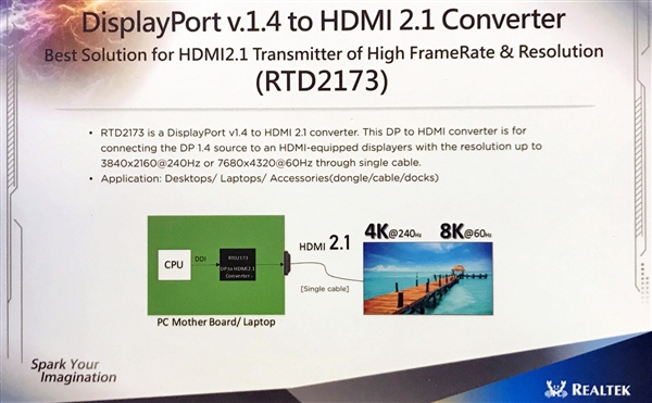 瑞昱展示DisplayPort 1.4/HDMI 2.1转接器