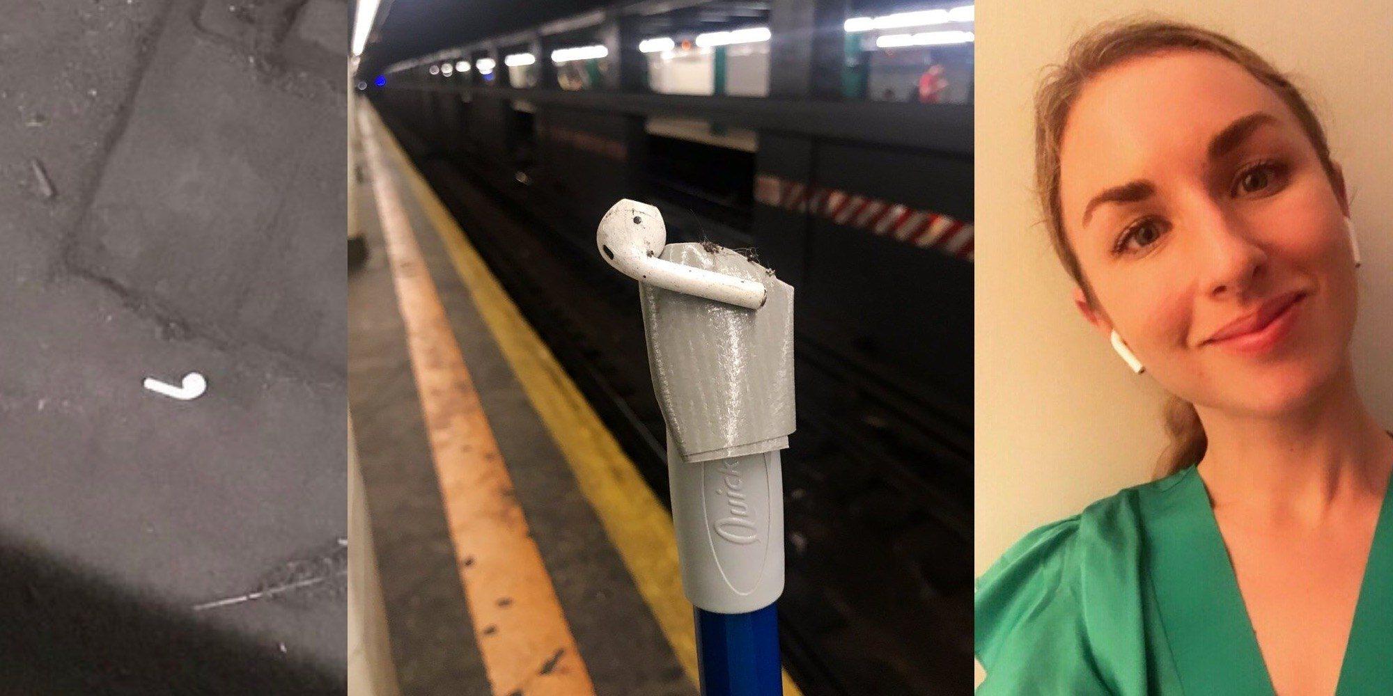耳机掉落怎么办?国外妹子一只AirPod不慎掉下地铁巧追回