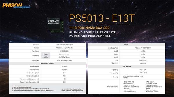 群联展示新SSD主控E19T、E18、E13T:1.5W BGA封装