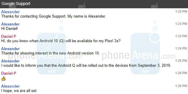 Google customer service confirmed the official version of Android 10 online: September 3