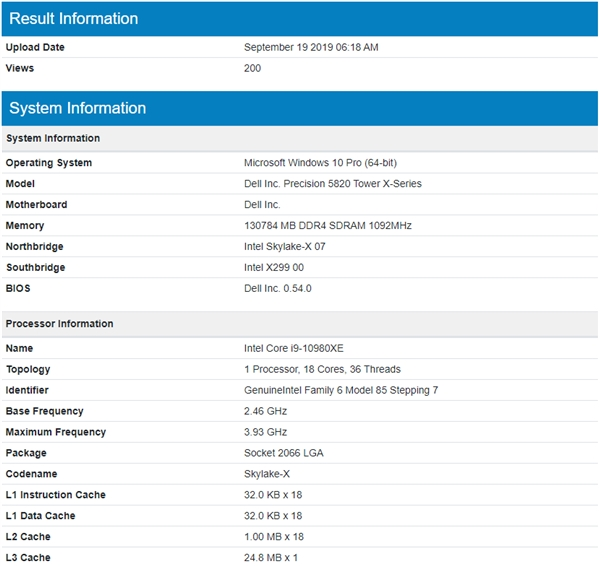 Intel新发烧旗舰i9-10980XE首次现身:依然18核心