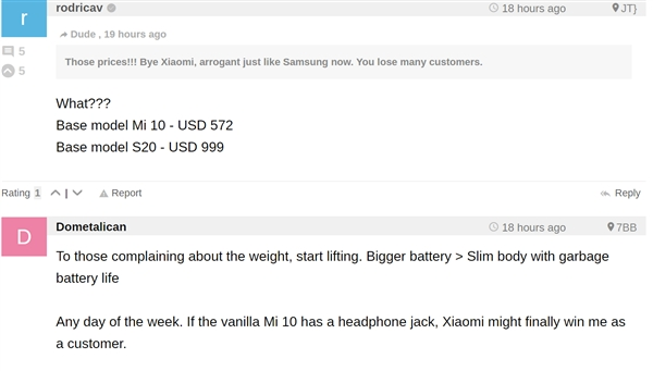 国外网友热议小米10/小米10 Pro:比配置相仿的三星S20便宜一半、价格合理