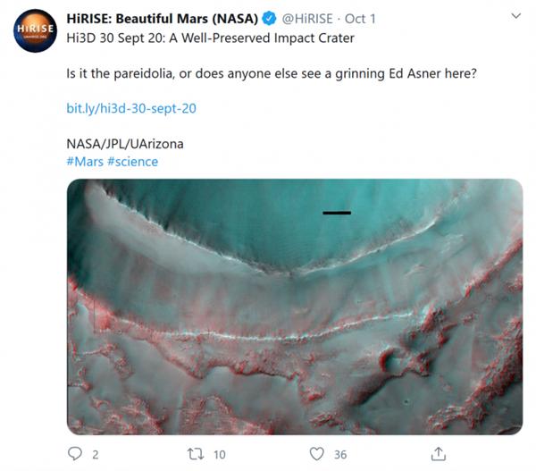 NASA轨道飞行器在火星上新发现:神秘的咧嘴笑脸