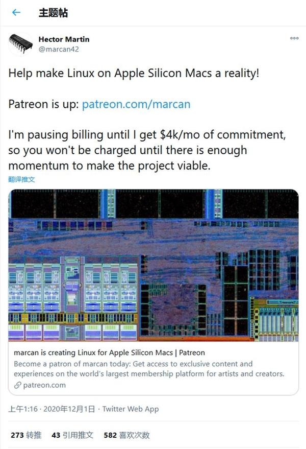 万物皆可Linux:苹果M1处理器已可成功运行