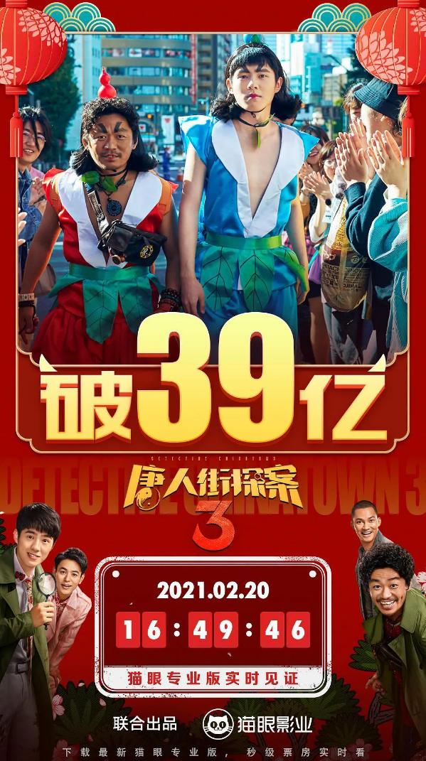 票房破39亿 陈思诚谈《唐探3》:口碑分化严重接受观众的批评