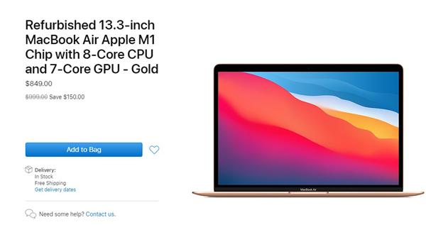 苹果官网上架M1 MacBook Air翻新版:比新版便宜近千元