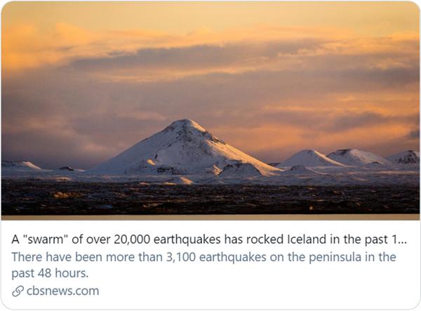 10天地震2万次 冰岛火山或将喷发:之前已休眠了800年