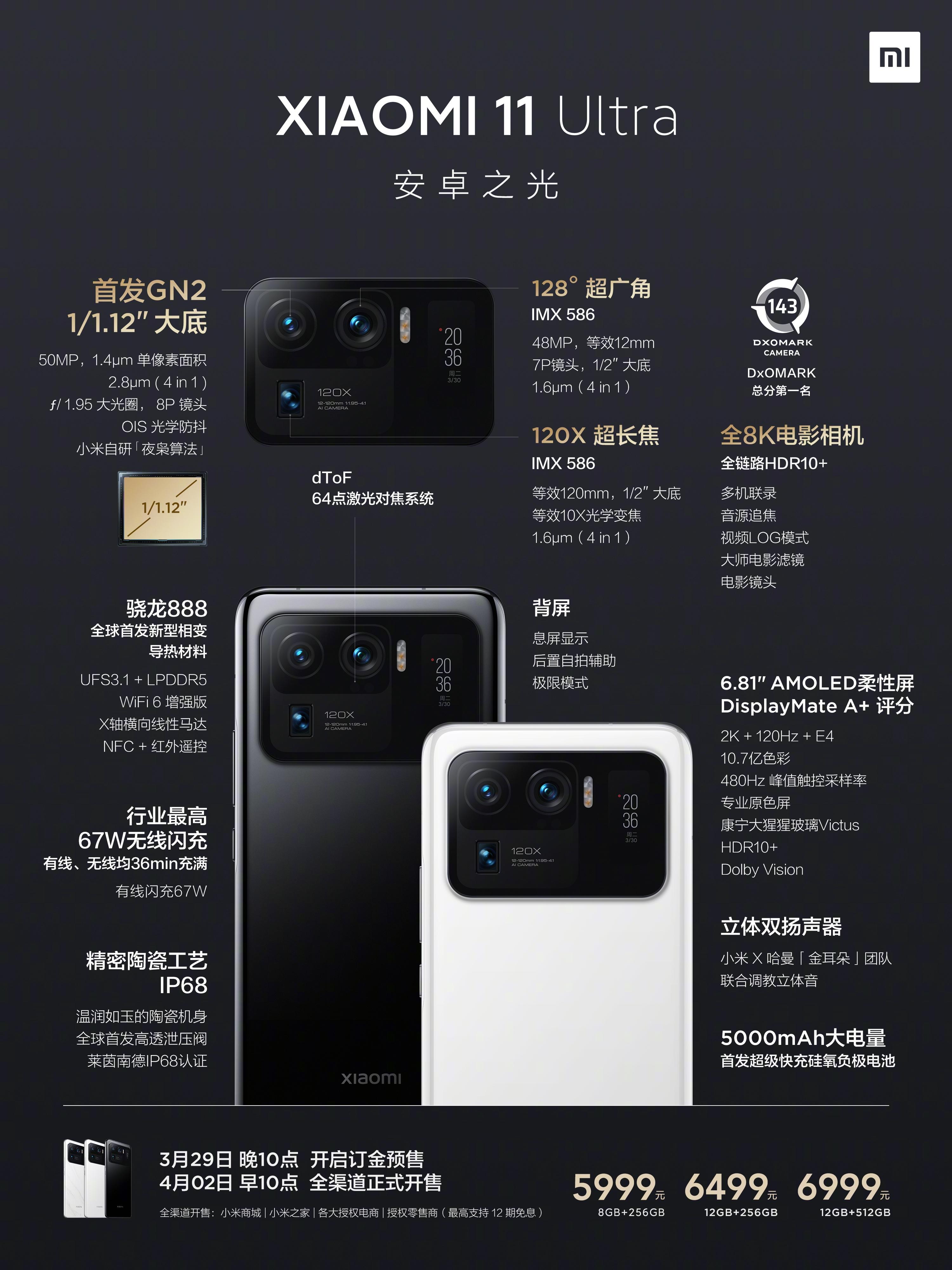 """小米11 Ultra正式发布:另类""""双屏""""、顶配6999元"""