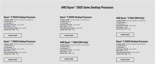 AMD正式发布锐龙9 5900、锐龙7 5800:65W 12核心仅限OEM