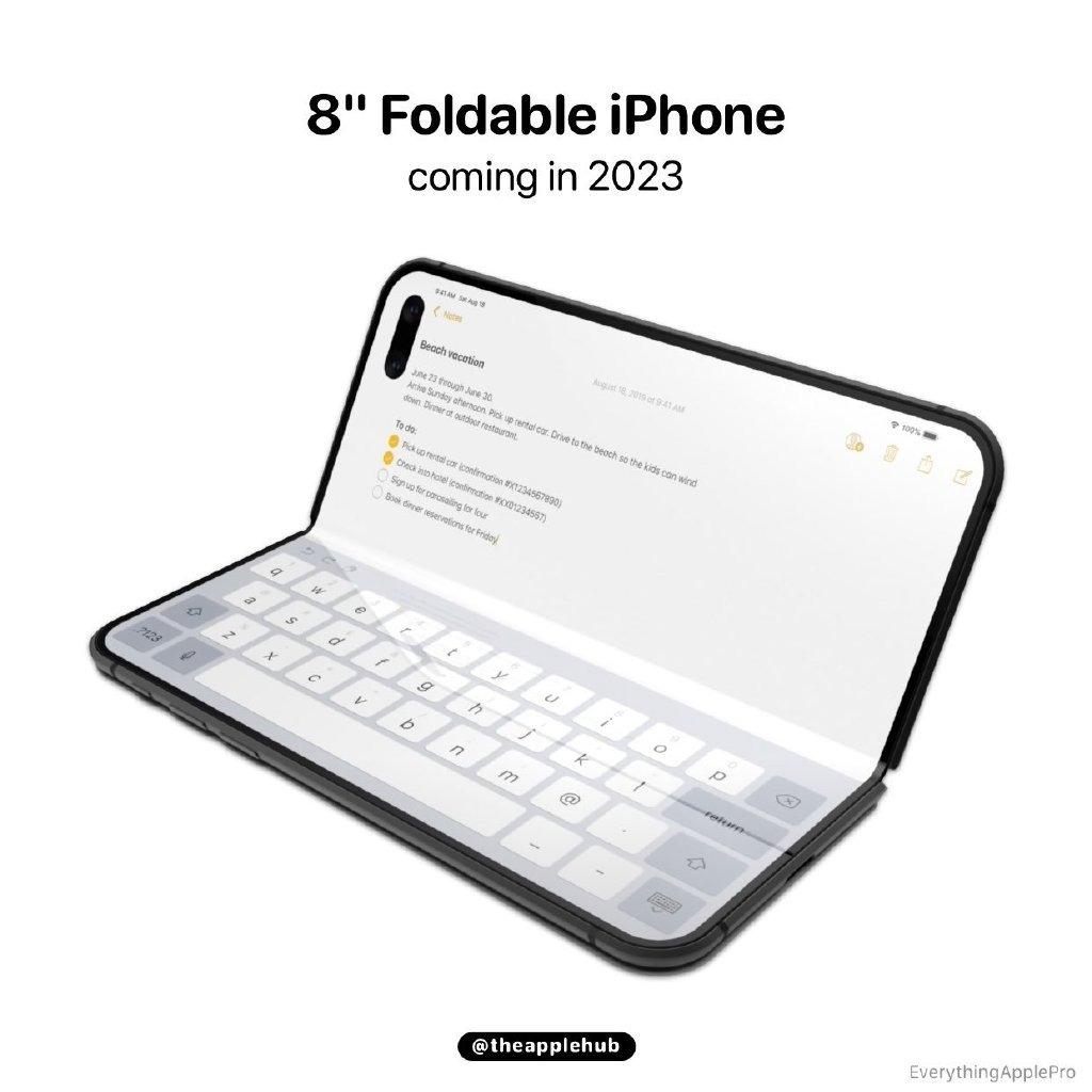 折叠屏iPhone渲染图曝光:左右对折、可秒变掌上电脑