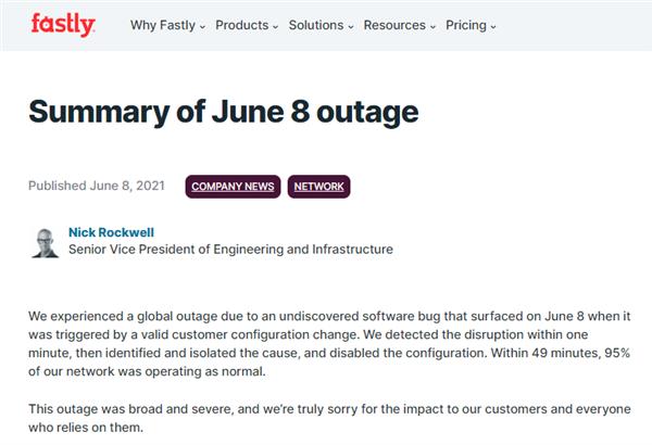 全球大量网站宕机近1小时!原因被找到:云服务商配置错误引起