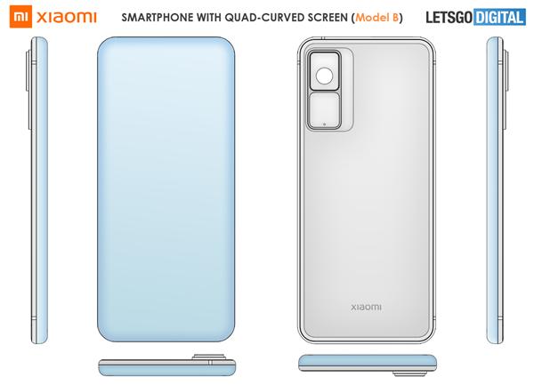 小米四曲面瀑布屏手机专利曝光:将采用屏下前摄方案